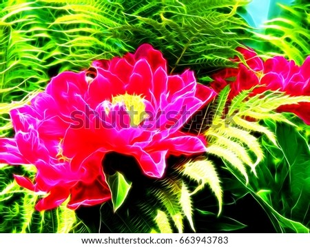 Illustration of peony flowers in neon color #663943783