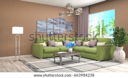 Interior living room. 3d illustration #663984238