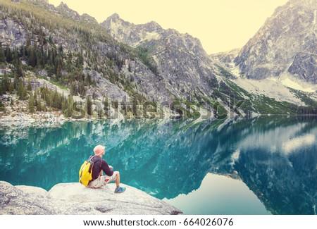 Beautiful Alpine lakes wilderness area  in Washington, USA #664026076