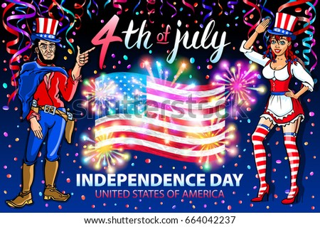 illustration of a girl and men celebrating Independence Day Vector Poster. 4th of July Lettering. American Red Flag on Blue Background with Stars burst. firework art #664042237