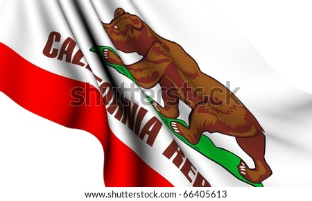 Flag of California, USA against white background. Close up. #66405613