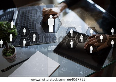 Human resource management, HR, recruitment, leadership and teambuilding. Business and technology concept. Royalty-Free Stock Photo #664067932