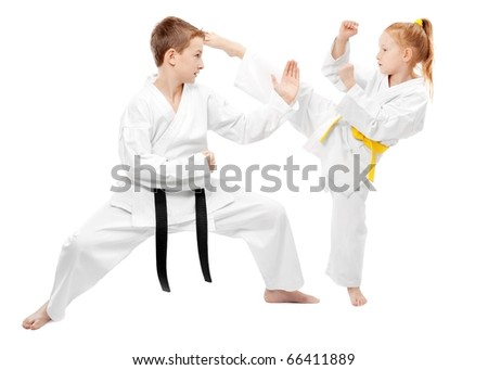 Children practice karate, isolated on white #66411889