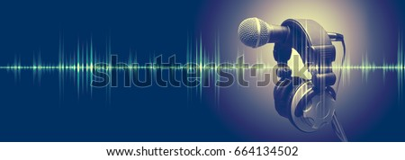 Studio microphone and sound waves. Sound engineering and karaoke background. Music and radio concept  Royalty-Free Stock Photo #664134502