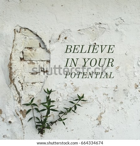 Inspiration motivation quote about life, potential