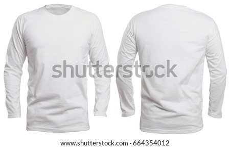 Blank long sleve shirt mock up template, front and back view, isolated on white, plain white t-shirt mockup. Long sleeved tee design presentation for print. Royalty-Free Stock Photo #664354012