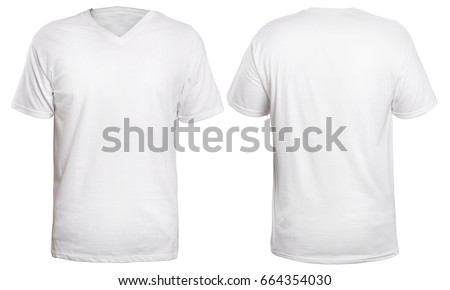 Blank v-neck shirt mock up template, front and back view, isolated on white, plain t-shirt mockup. V Neck tee design presentation for print. #664354030