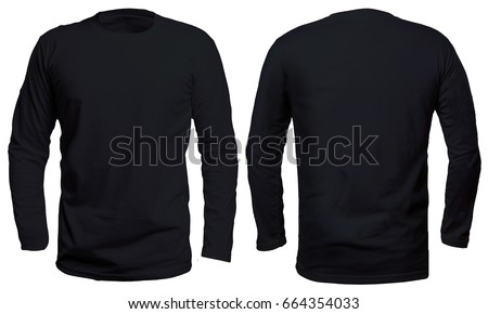 Blank long sleve shirt mock up template, front and back view, isolated on white, plain black t-shirt mockup. Long sleeved tee design presentation for print. Royalty-Free Stock Photo #664354033