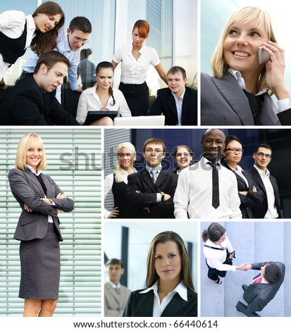 Business collage made of many different pictures about finances, time, money, real estate and corporative relations #66440614