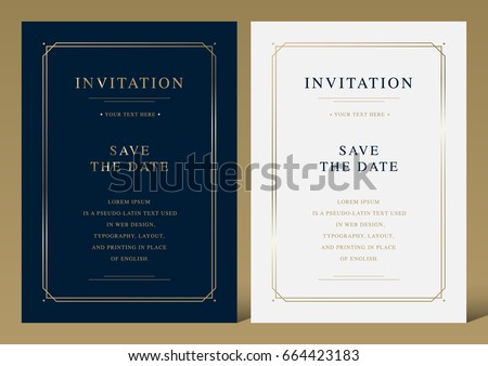 Luxury vintage golden vector invitation card template  #664423183