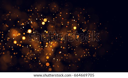 Gold abstract bokeh background. real backlit dust particles with real lens flare. #664669705