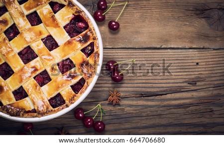 Sweet homemade cherry pie #664706680