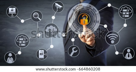 Blue chip manager is unlocking a virtual locking mechanism to access shared cloud resources. Internet concept for identity & access management, cloud storage, cybersecurity and managed services.  #664860208
