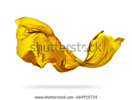 Smooth elegant yellow transparent cloth separated on white background. Texture of flying fabric. #664910734