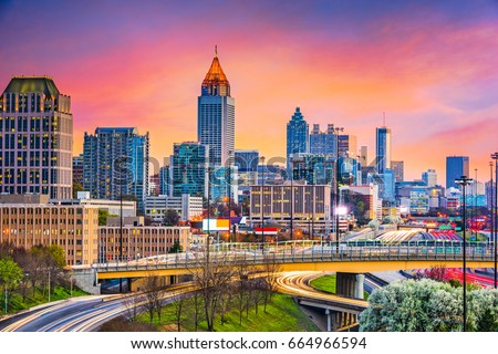 Atlanta, Georgia, USA downtown skyline at dusk.