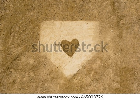 Home plate Love Baseball Royalty-Free Stock Photo #665003776