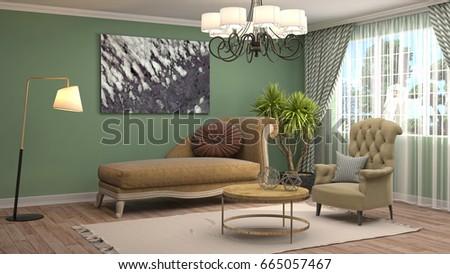 Interior living room. 3d illustration #665057467