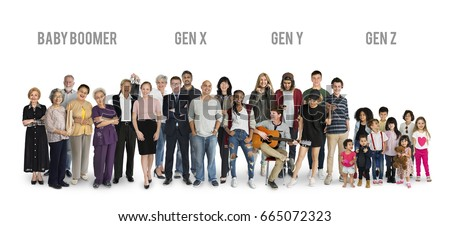 Diversity Generations People Set Together Studio Isolated Royalty-Free Stock Photo #665072323