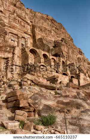 tomb in the antique site of petra in jordan the beautiful wonder of the world