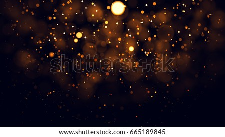 Gold abstract bokeh background. real backlit dust particles with real lens flare. #665189845