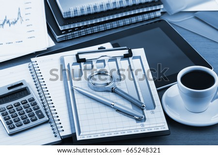 Business Objects in the office on the table #665248321