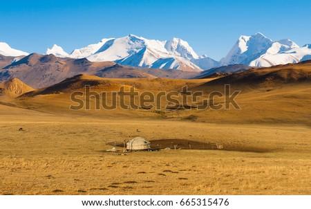 Yurt in a landscape of Kazakhstan #665315476