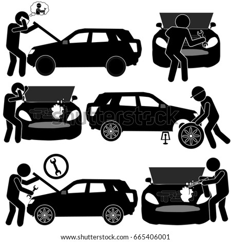 Auto Service Background with Car Problems Fixing by Specialists. Stick Figure Pictogram Icon #665406001