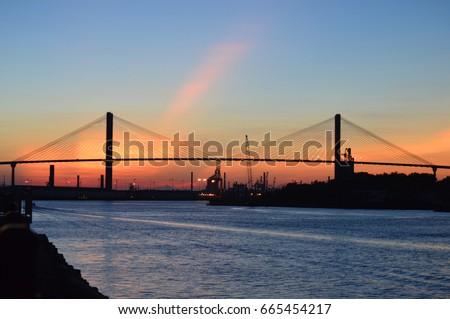 Sunset over Talmadge Memorial Bridge Savannah, Georgia #665454217