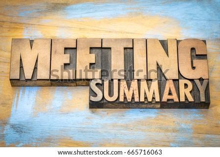 meeting summary banner in letterpress wood type printing blocks #665716063