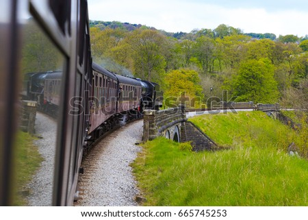England, West Yorkshire. Keighley and Worth Valley Railway, steam trains, 5-miles up Worth Valley to Haworth and Oxenhope. May 6, 2017 #665745253