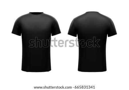 Black male t-shirt on white background. Both sides #665831341