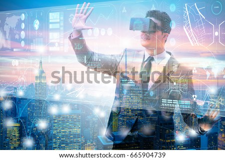 Businessman in virtual reality trading on stock market #665904739