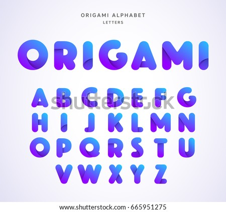 Vector origami alphabet. Letter collection #665951275