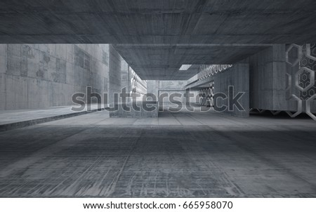 Abstract interior of glass and concrete. Architectural background. 3D illustration and rendering  #665958070