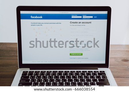Bangkok, Thailand - June 25, 2017: Login Screen Facebook icons on apple macbook pro. largest and most popular social networking site in the world. #666038554