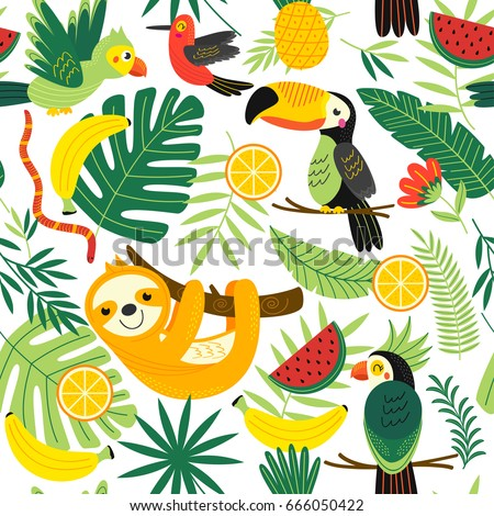 seamless pattern with tropical animals - vector illustration, eps