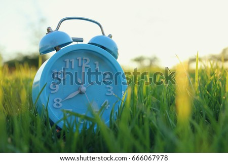 Retro alarm clock over green grass outdoors in the park.