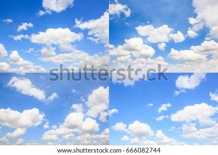 Collection of clouds with blue sky natural background. #666082744