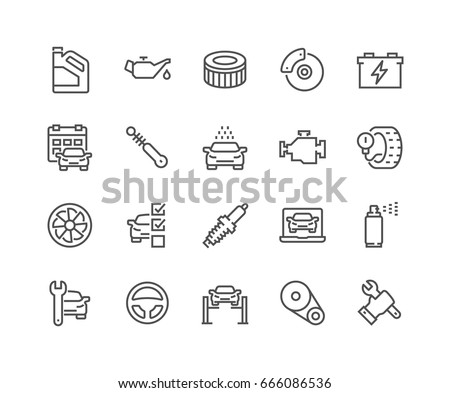 Simple Set of Car Service Related Vector Line Icons.  Contains such Icons as Oil, Filter, Steering Wheel, Check List and more. Editable Stroke. 48x48 Pixel Perfect. Royalty-Free Stock Photo #666086536