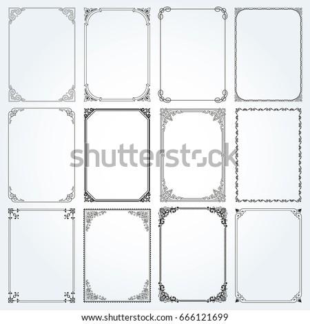 Decorative frames and borders standard rectangle proportions backgrounds vintage design elements set  vector #666121699