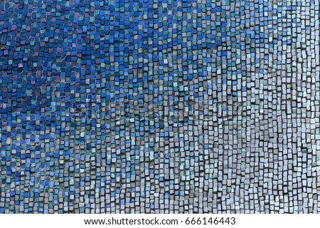 Detail of beautiful old collapsing abstract ceramic mosaic adorned building. Venetian mosaic as decorative background. Selective focus. Abstract  Pattern. Abstract  colored  ceramic stones #666146443