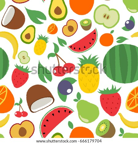 Isolated seamless pattern with doodle flat summer fruits on white background.  Colorful apple, banana, berry, cherry, citrus,  kiwi fruit, leaves,orange, plum, strawberry, watermelon, mango,pear. #666179704