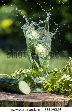 Glass with mineral water with cucumber and mint - home made lemonade #666195895
