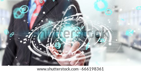 Businessman on blurred background using flying network connection interface 3D rendering #666198361