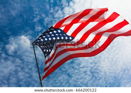 USA flag background. American symbol of fourth of July Independence Day, democracy and patriotism #666200122
