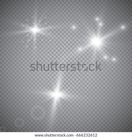 Set of shining lights isolated on a transparent background. The flash flashes with rays and a searchlight. Light effect of glow. The star flashed with sparkles.