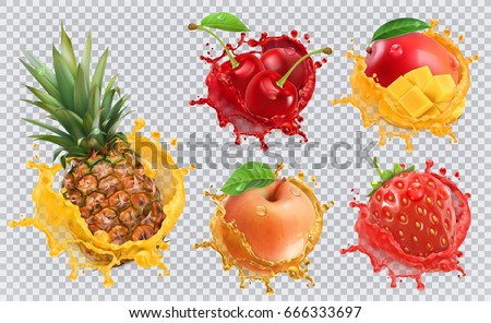 Pineapple, strawberry, apple, cherry, mango juice. Fresh fruits and splashes, 3d vector icon set Royalty-Free Stock Photo #666333697