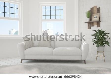 White minimalist room with sofa. Scandinavian interior design. 3D illustration #666398434