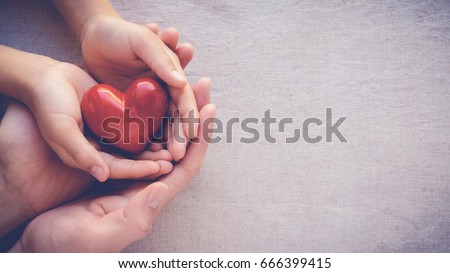 adult and child hands holding red heart, health care, love and family insurance concept, world heart day, world health day, adoption foster family, international day of families