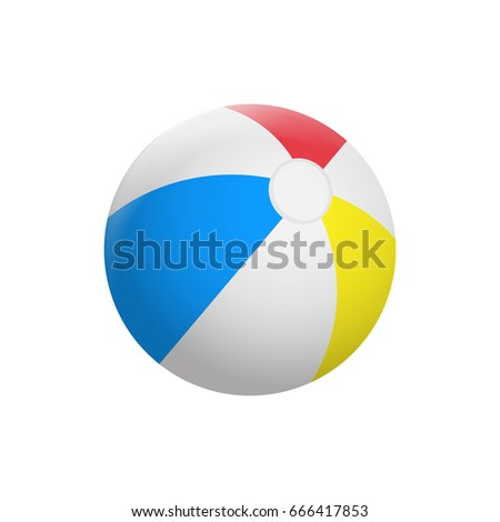 Realistic Beach ball isolated on white background. Vector illustration. Eps 10. #666417853